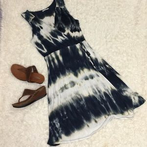 Tie-dye faux wrap dress